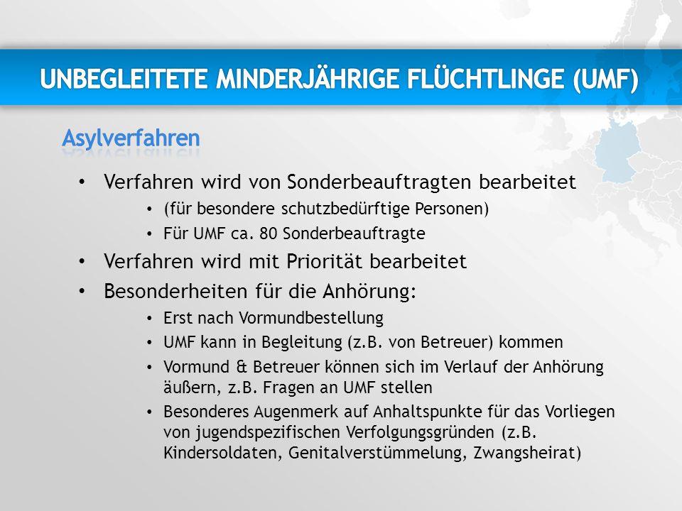 Verfahren wird von Sonderbeauftragten bearbeitet (für besondere schutzbedürftige Personen) Für UMF ca.