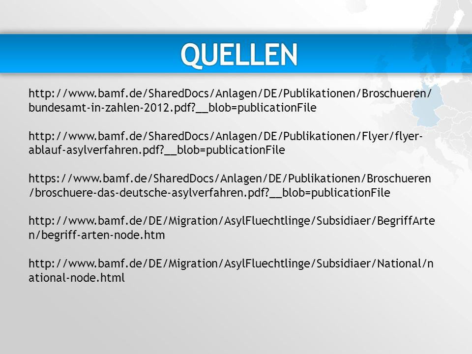 http://www.bamf.de/SharedDocs/Anlagen/DE/Publikationen/Broschueren/ bundesamt-in-zahlen-2012.pdf?__blob=publicationFile http://www.bamf.de/SharedDocs/Anlagen/DE/Publikationen/Flyer/flyer- ablauf-asylverfahren.pdf?__blob=publicationFile https://www.bamf.de/SharedDocs/Anlagen/DE/Publikationen/Broschueren /broschuere-das-deutsche-asylverfahren.pdf?__blob=publicationFile http://www.bamf.de/DE/Migration/AsylFluechtlinge/Subsidiaer/BegriffArte n/begriff-arten-node.htm http://www.bamf.de/DE/Migration/AsylFluechtlinge/Subsidiaer/National/n ational-node.html
