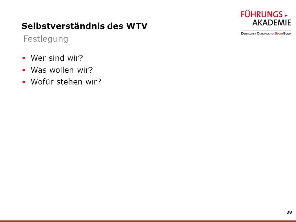 38 Selbstverständnis des WTV Wer sind wir? Was wollen wir? Wofür stehen wir? Festlegung