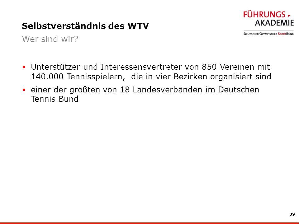 39 Unterstützer und Interessensvertreter von 850 Vereinen mit 140.000 Tennisspielern, die in vier Bezirken organisiert sind einer der größten von 18 Landesverbänden im Deutschen Tennis Bund Selbstverständnis des WTV Wer sind wir?