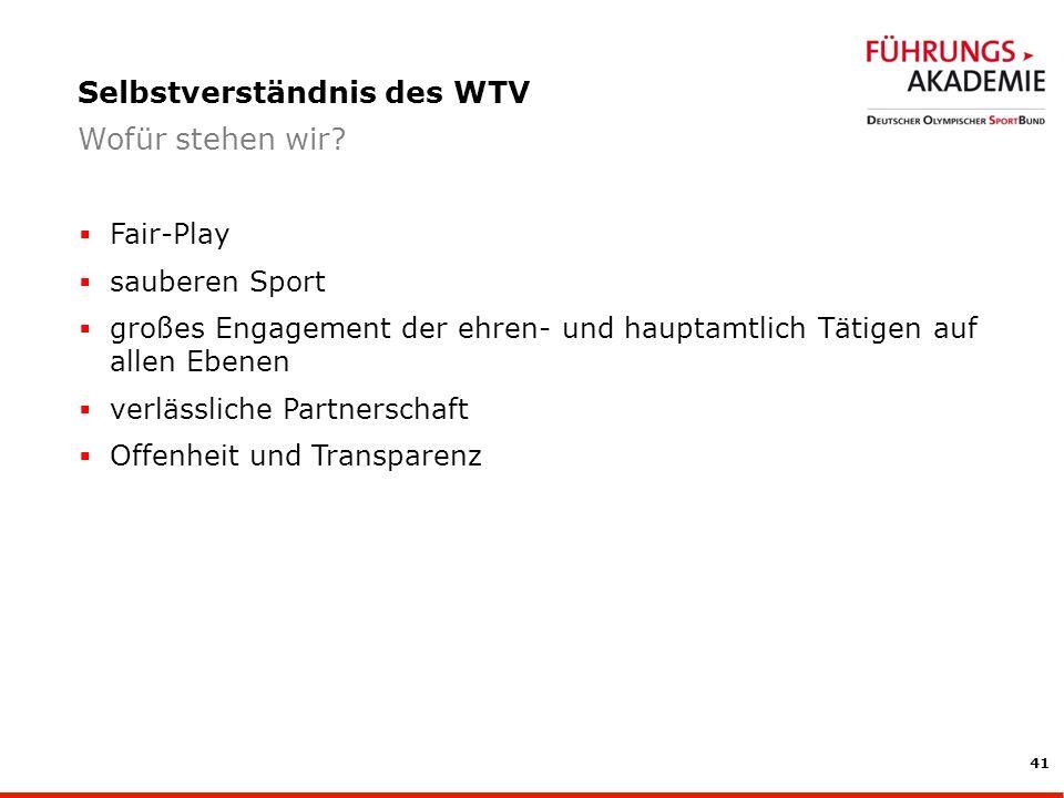 41 Fair-Play sauberen Sport großes Engagement der ehren- und hauptamtlich Tätigen auf allen Ebenen verlässliche Partnerschaft Offenheit und Transparenz Selbstverständnis des WTV Wofür stehen wir?