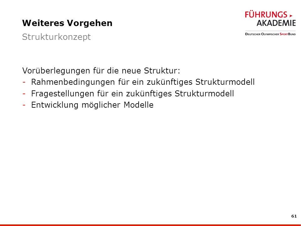 61 Vorüberlegungen für die neue Struktur: -Rahmenbedingungen für ein zukünftiges Strukturmodell -Fragestellungen für ein zukünftiges Strukturmodell -Entwicklung möglicher Modelle Weiteres Vorgehen Strukturkonzept