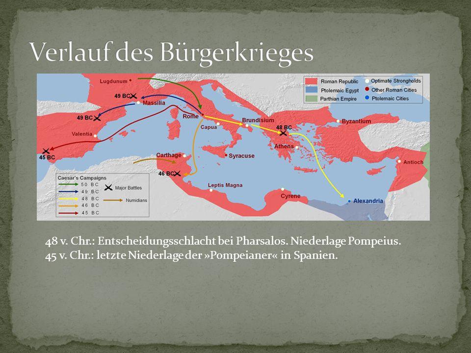 48 v. Chr.: Entscheidungsschlacht bei Pharsalos. Niederlage Pompeius. 45 v. Chr.: letzte Niederlage der »Pompeianer« in Spanien.