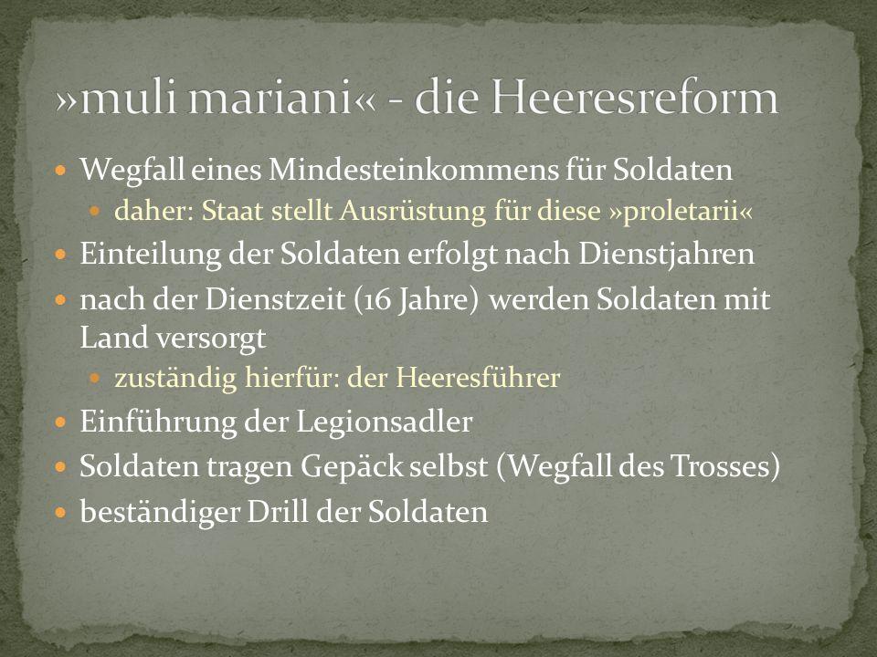 Wegfall eines Mindesteinkommens für Soldaten daher: Staat stellt Ausrüstung für diese »proletarii« Einteilung der Soldaten erfolgt nach Dienstjahren n