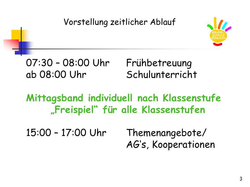 3 Vorstellung zeitlicher Ablauf 07:30 – 08:00 UhrFrühbetreuung ab 08:00 UhrSchulunterricht Mittagsband individuell nach Klassenstufe Freispiel für all