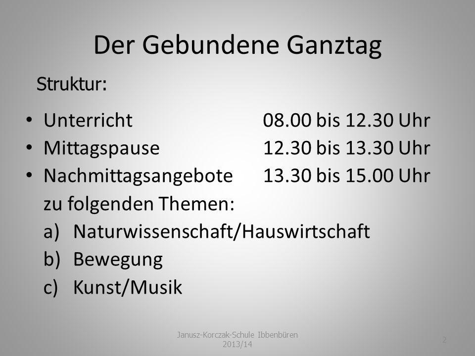 Unterricht 08.00 bis 12.30 Uhr Mittagspause 12.30 bis 13.30 Uhr Nachmittagsangebote 13.30 bis 15.00 Uhr zu folgenden Themen: a) Naturwissenschaft/Haus