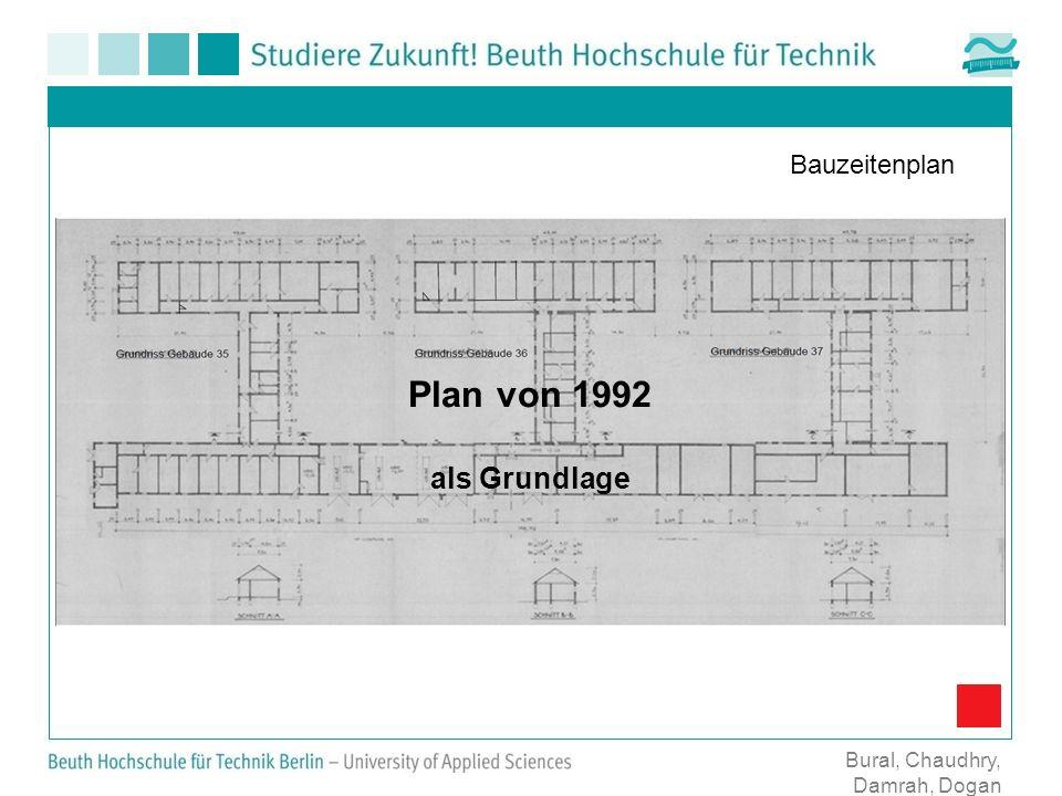 Bauzeitenplan Bural, Chaudhry, Damrah, Dogan Plan von 1992 als Grundlage