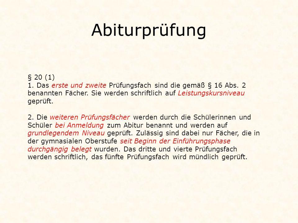 Durchführung der schriftlichen Abiturprüfung 1./2.