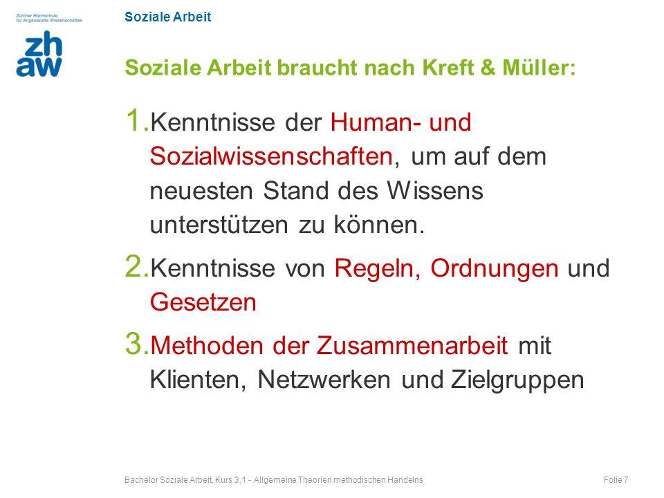 Soziale Arbeit 1. Kenntnisse der Human- und Sozialwissenschaften, um auf dem neuesten Stand des Wissens unterstützen zu können. 2. Kenntnisse von Rege