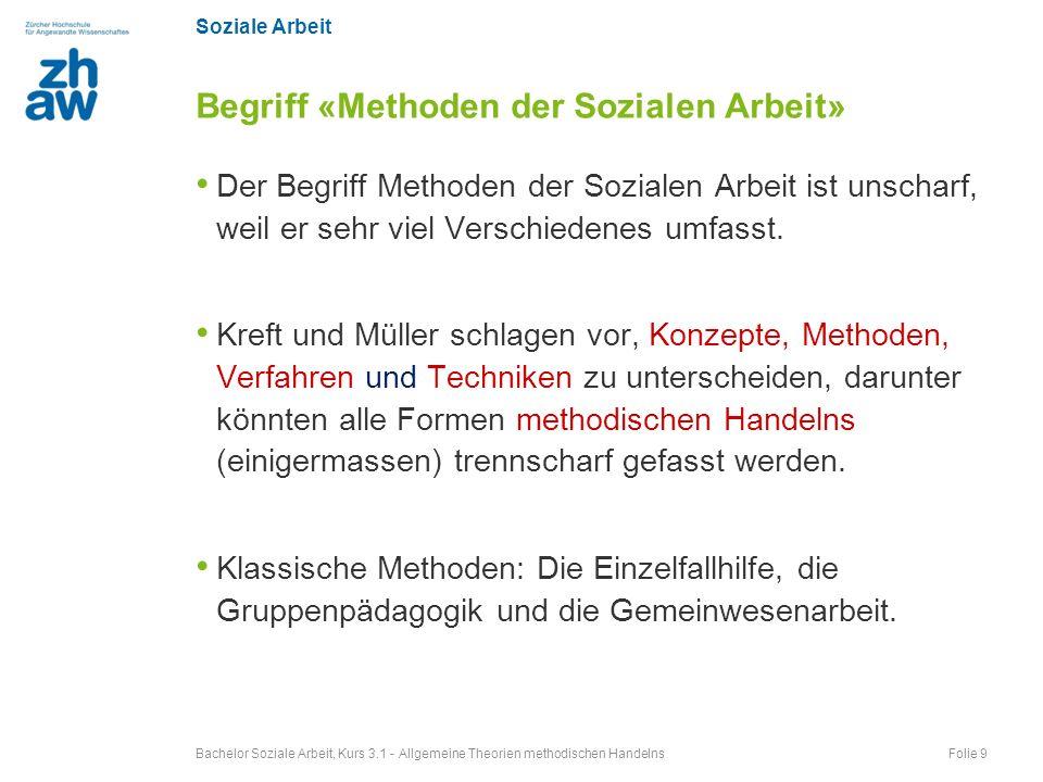 Soziale Arbeit Der Begriff Methoden der Sozialen Arbeit ist unscharf, weil er sehr viel Verschiedenes umfasst. Kreft und Müller schlagen vor, Konzepte