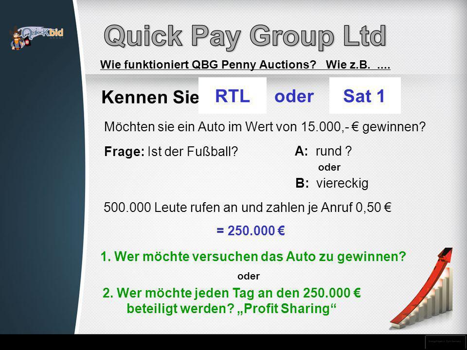 Kennen Sie 2. Wer möchte jeden Tag an den 250.000 beteiligt werden? Profit Sharing 1. Wer möchte versuchen das Auto zu gewinnen? RRTLoder SSat 1 Möcht