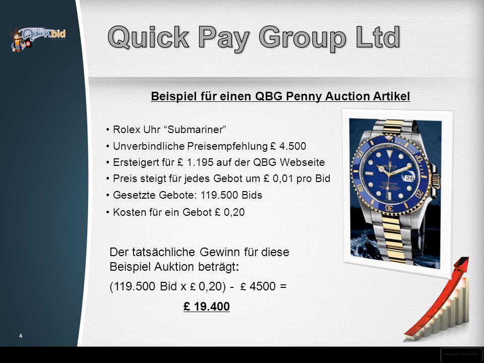 Beispiel für einen QBG Penny Auction Artikel Rolex Uhr Submariner Unverbindliche Preisempfehlung £ 4.500 Ersteigert für £ 1.195 auf der QBG Webseite P