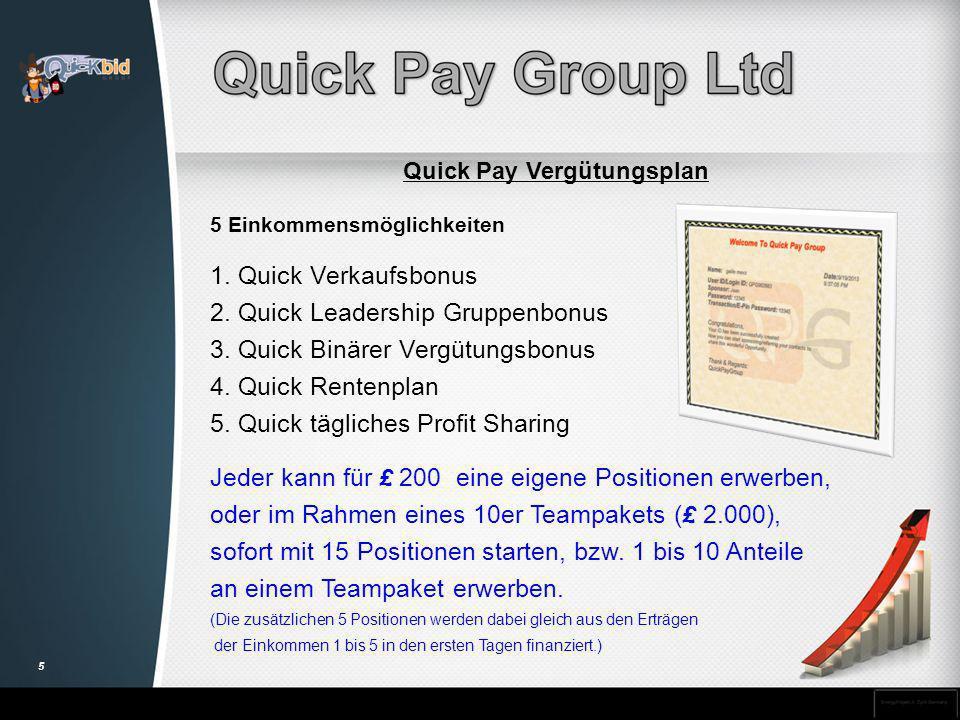 Quick Pay Vergütungsplan 5 Einkommensmöglichkeiten 1. Quick Verkaufsbonus 2. Quick Leadership Gruppenbonus 3. Quick Binärer Vergütungsbonus 4. Quick R