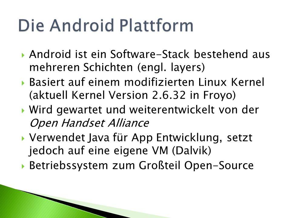 Android ist ein Software-Stack bestehend aus mehreren Schichten (engl. layers) Basiert auf einem modifizierten Linux Kernel (aktuell Kernel Version 2.