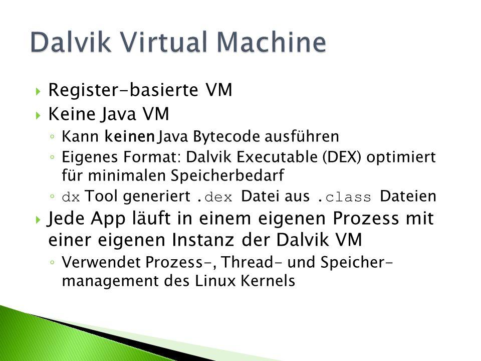 Register-basierte VM Keine Java VM Kann keinen Java Bytecode ausführen Eigenes Format: Dalvik Executable (DEX) optimiert für minimalen Speicherbedarf dx Tool generiert.dex Datei aus.class Dateien Jede App läuft in einem eigenen Prozess mit einer eigenen Instanz der Dalvik VM Verwendet Prozess-, Thread- und Speicher- management des Linux Kernels