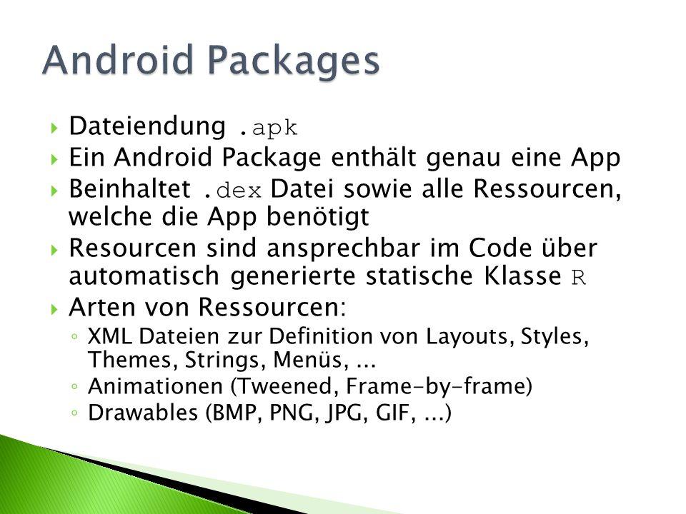 Dateiendung.apk Ein Android Package enthält genau eine App Beinhaltet.dex Datei sowie alle Ressourcen, welche die App benötigt Resourcen sind ansprechbar im Code über automatisch generierte statische Klasse R Arten von Ressourcen: XML Dateien zur Definition von Layouts, Styles, Themes, Strings, Menüs,...