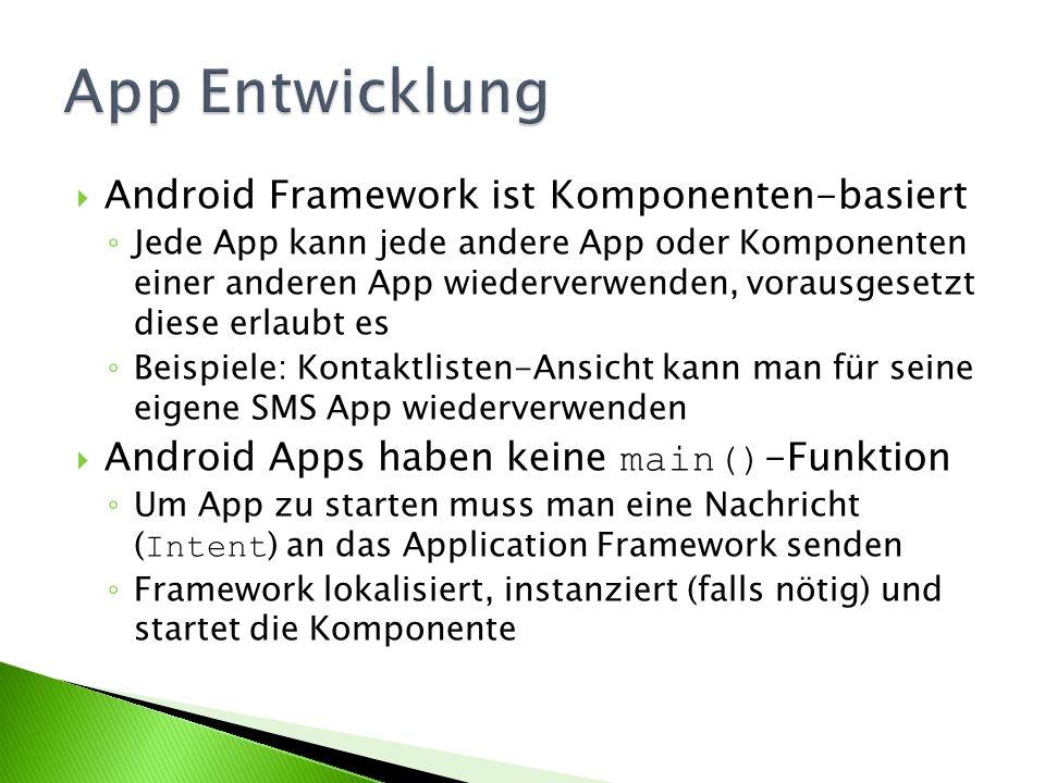 Android Framework ist Komponenten-basiert Jede App kann jede andere App oder Komponenten einer anderen App wiederverwenden, vorausgesetzt diese erlaub