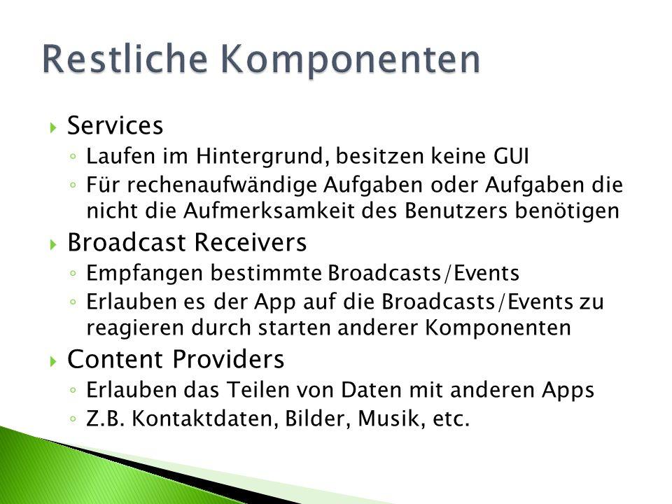 Services Laufen im Hintergrund, besitzen keine GUI Für rechenaufwändige Aufgaben oder Aufgaben die nicht die Aufmerksamkeit des Benutzers benötigen Broadcast Receivers Empfangen bestimmte Broadcasts/Events Erlauben es der App auf die Broadcasts/Events zu reagieren durch starten anderer Komponenten Content Providers Erlauben das Teilen von Daten mit anderen Apps Z.B.