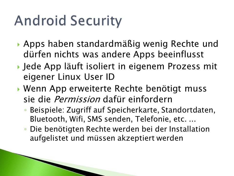 Apps haben standardmäßig wenig Rechte und dürfen nichts was andere Apps beeinflusst Jede App läuft isoliert in eigenem Prozess mit eigener Linux User