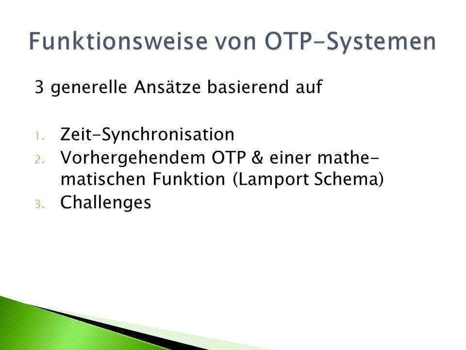 OTP wird generiert basierend auf der aktuellen Zeit Benutzer benötigt ein Gerät um ein OTP vor Ort generieren zu können Gerätezeit muss mit Serverzeit synchron sein OTP wird nach Ablauf einer gewissen Zeit ungültig Diese Eigenschaft ermöglicht das Erkennen und Abblocken von absichtlich verzögerten Nachrichten