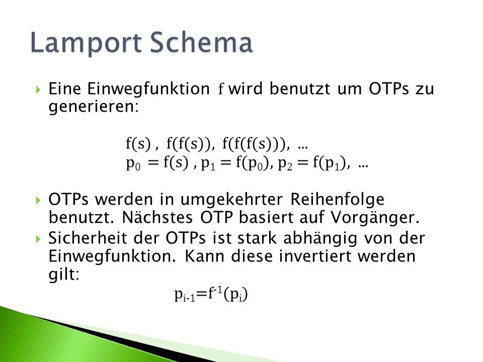 Eine Einwegfunktion f wird benutzt um OTPs zu generieren: f(s), f(f(s)), f(f(f(s))),... p 0 = f(s), p 1 = f(p 0 ), p 2 = f(p 1 ),... OTPs werden in um