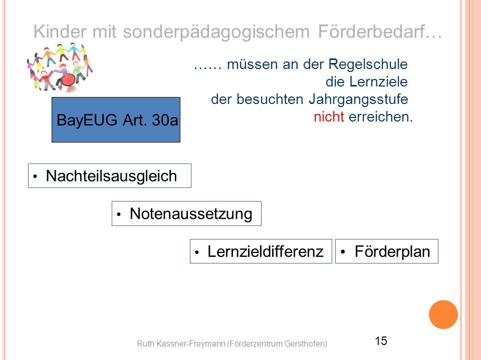 Ruth Kassner-Freymann (Förderzentrum Gersthofen) 15 Kinder mit sonderpädagogischem Förderbedarf… BayEUG Art. 30a …… müssen an der Regelschule die Lern