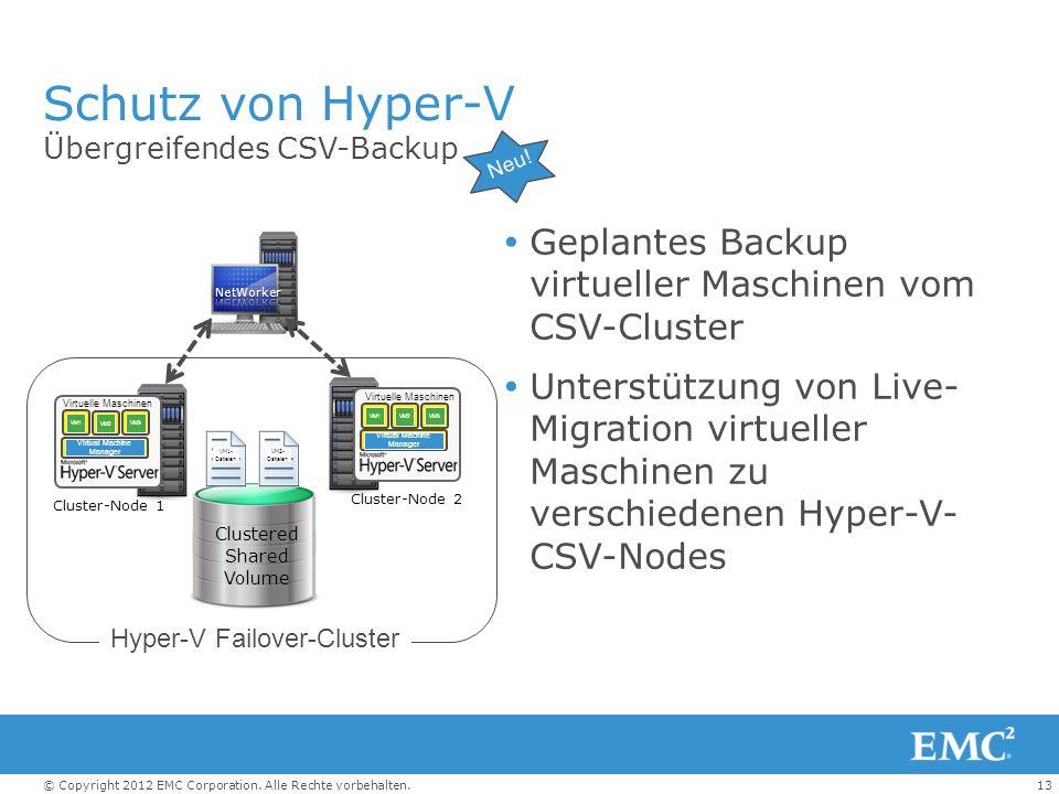 13© Copyright 2012 EMC Corporation. Alle Rechte vorbehalten. Schutz von Hyper-V Geplantes Backup virtueller Maschinen vom CSV-Cluster Unterstützung vo