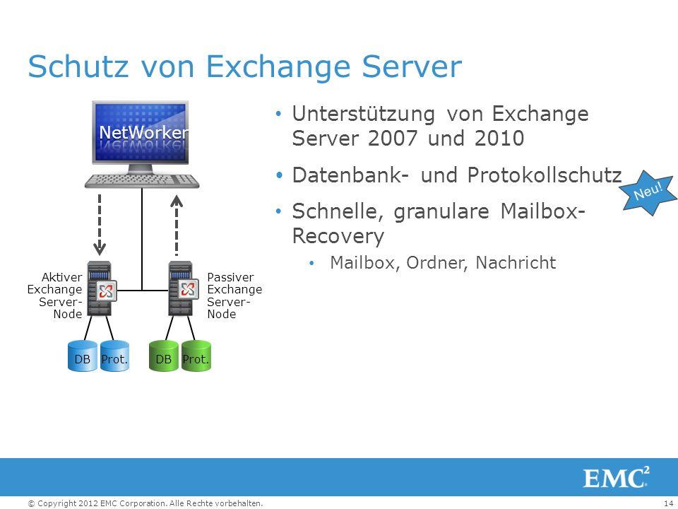 14© Copyright 2012 EMC Corporation. Alle Rechte vorbehalten. Schutz von Exchange Server Unterstützung von Exchange Server 2007 und 2010 Datenbank- und