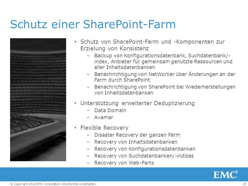 15© Copyright 2012 EMC Corporation. Alle Rechte vorbehalten. Schutz einer SharePoint-Farm Schutz von SharePoint-Farm und -Komponenten zur Erzielung vo