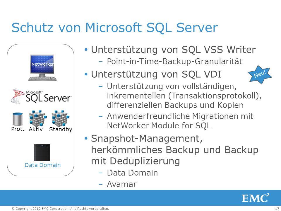 17© Copyright 2012 EMC Corporation. Alle Rechte vorbehalten. Schutz von Microsoft SQL Server Unterstützung von SQL VSS Writer –Point-in-Time-Backup-Gr