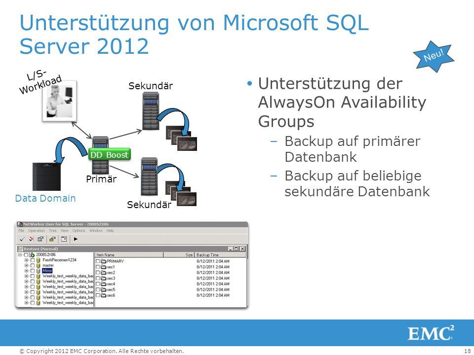 18© Copyright 2012 EMC Corporation. Alle Rechte vorbehalten. Unterstützung von Microsoft SQL Server 2012 Unterstützung der AlwaysOn Availability Group