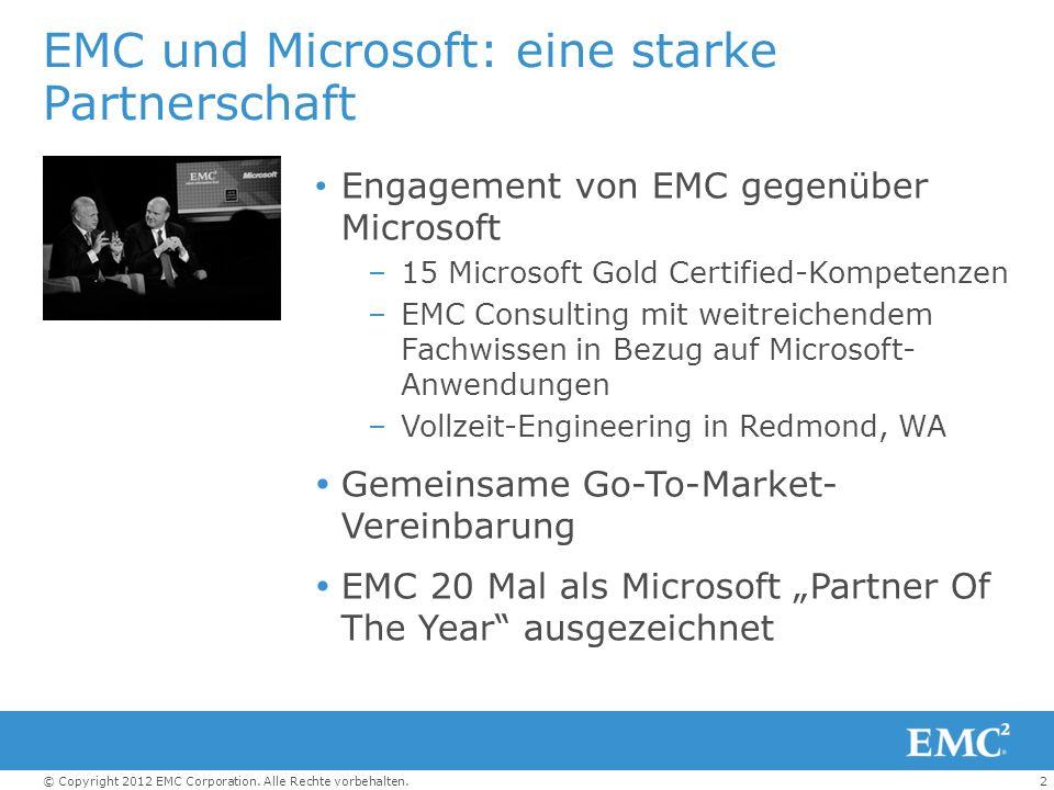 2© Copyright 2012 EMC Corporation. Alle Rechte vorbehalten. EMC und Microsoft: eine starke Partnerschaft Engagement von EMC gegenüber Microsoft –15 Mi