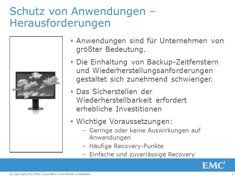 3© Copyright 2012 EMC Corporation. Alle Rechte vorbehalten. Schutz von Anwendungen – Herausforderungen Anwendungen sind für Unternehmen von größter Be