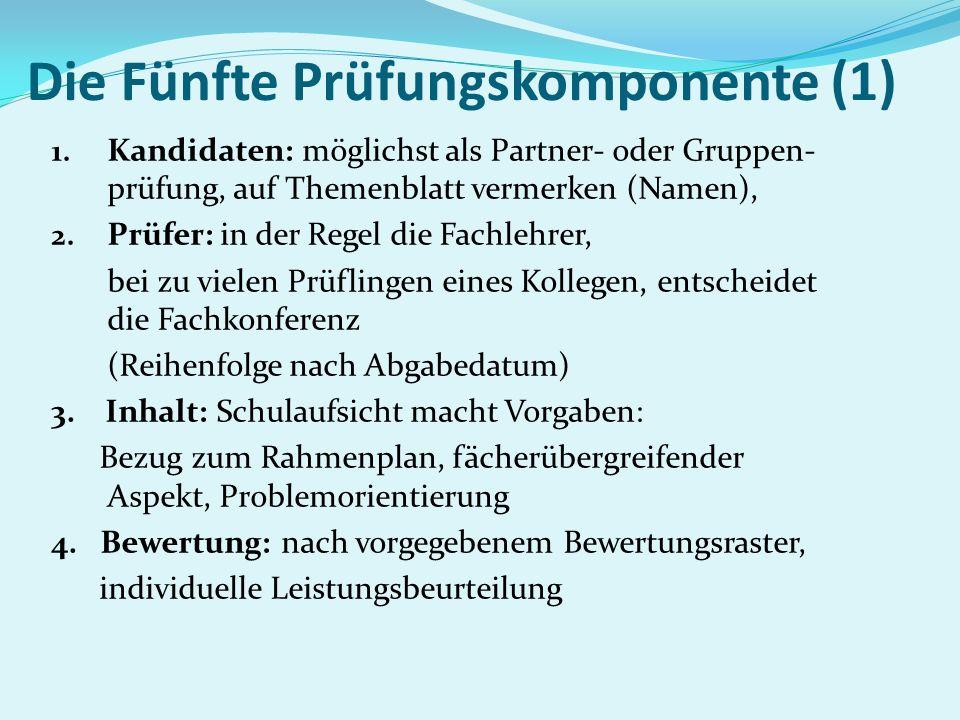 Die Fünfte Prüfungskomponente (1) 1. Kandidaten: möglichst als Partner- oder Gruppen- prüfung, auf Themenblatt vermerken (Namen), 2. Prüfer: in der Re