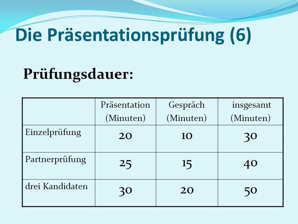 Die Präsentationsprüfung (6) Prüfungsdauer: Präsentation (Minuten) Gespräch (Minuten) insgesamt (Minuten) Einzelprüfung 201030 Partnerprüfung 251540 d
