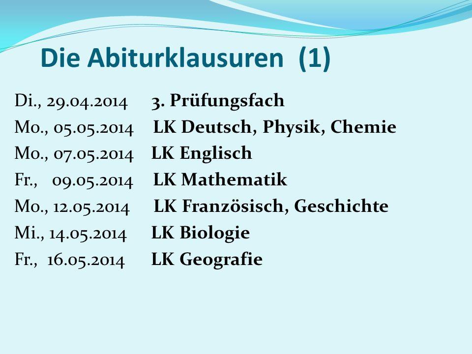 Die Abiturklausuren (1) Di., 29.04.2014 3. Prüfungsfach Mo., 05.05.2014 LK Deutsch, Physik, Chemie Mo., 07.05.2014 LK Englisch Fr., 09.05.2014 LK Math