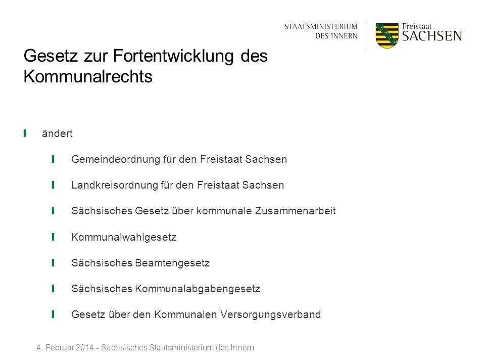 Gesetz zur Fortentwicklung des Kommunalrechts ändert Gemeindeordnung für den Freistaat Sachsen Landkreisordnung für den Freistaat Sachsen Sächsisches