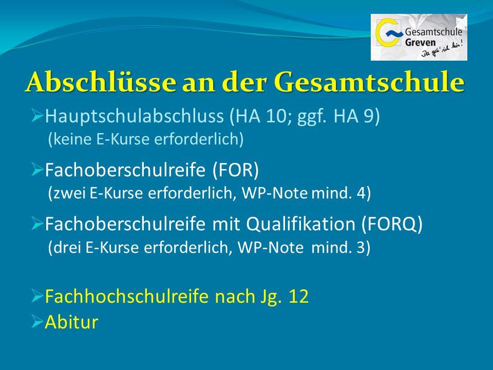 Abschlüsse an der Gesamtschule Hauptschulabschluss (HA 10; ggf. HA 9) (keine E-Kurse erforderlich) Fachoberschulreife (FOR) (zwei E-Kurse erforderlich