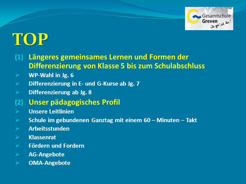 TOP (1) Längeres gemeinsames Lernen und Formen der Differenzierung von Klasse 5 bis zum Schulabschluss WP-Wahl in Jg. 6 Differenzierung in E- und G-Ku
