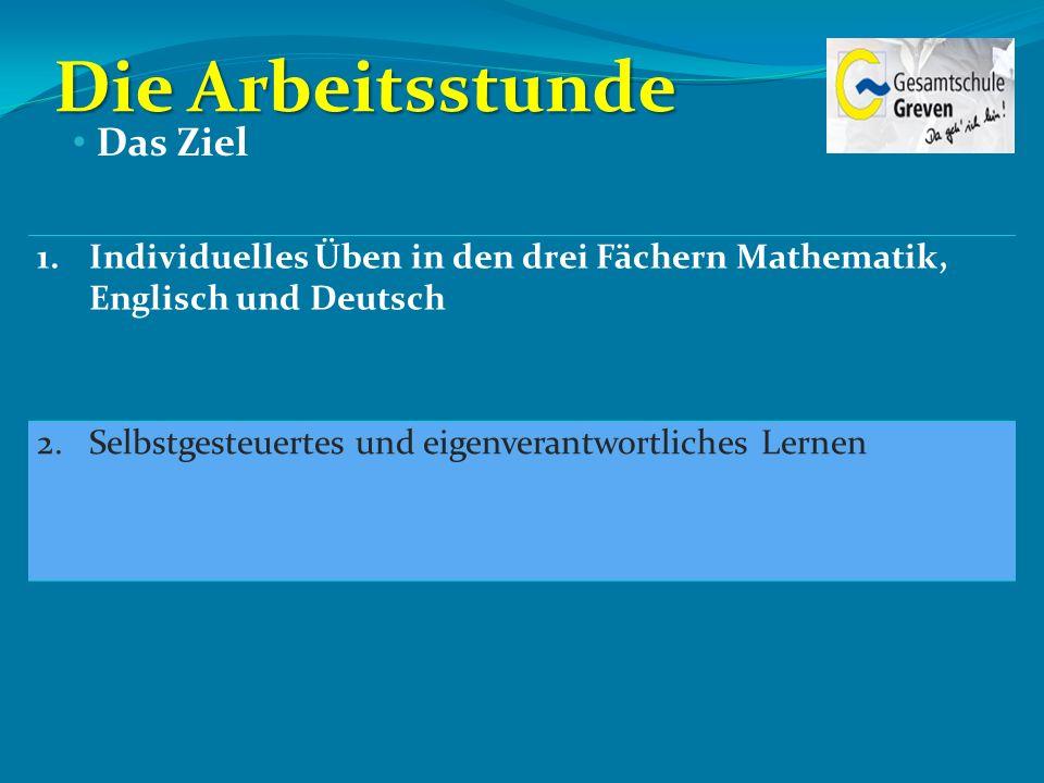 Die Arbeitsstunde 1.Individuelles Üben in den drei Fächern Mathematik, Englisch und Deutsch 2.Selbstgesteuertes und eigenverantwortliches Lernen Das Z
