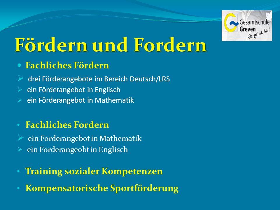 Fördern und Fordern Fachliches Fördern drei Förderangebote im Bereich Deutsch/LRS ein Förderangebot in Englisch ein Förderangebot in Mathematik Fachli