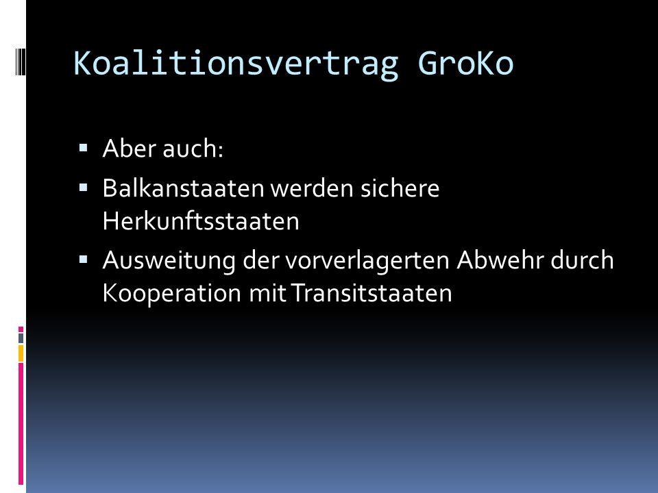 Koalitionsvertrag GroKo Aber auch: Balkanstaaten werden sichere Herkunftsstaaten Ausweitung der vorverlagerten Abwehr durch Kooperation mit Transitsta