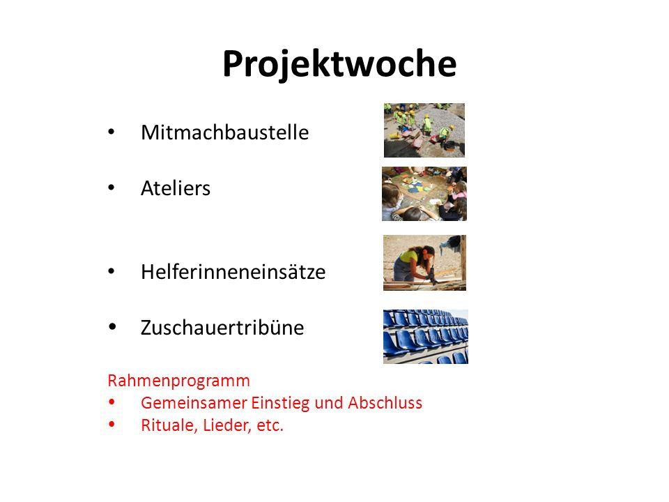 Projektwoche Mitmachbaustelle Ateliers Helferinneneinsätze Zuschauertribüne Rahmenprogramm Gemeinsamer Einstieg und Abschluss Rituale, Lieder, etc.