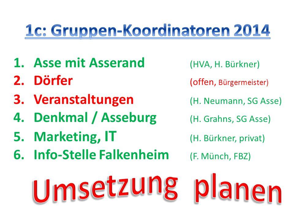 1.Asse mit Asserand (HVA, H. Bürkner) 2.Dörfer (offen, Bürgermeister) 3.Veranstaltungen (H. Neumann, SG Asse) 4.Denkmal / Asseburg (H. Grahns, SG Asse