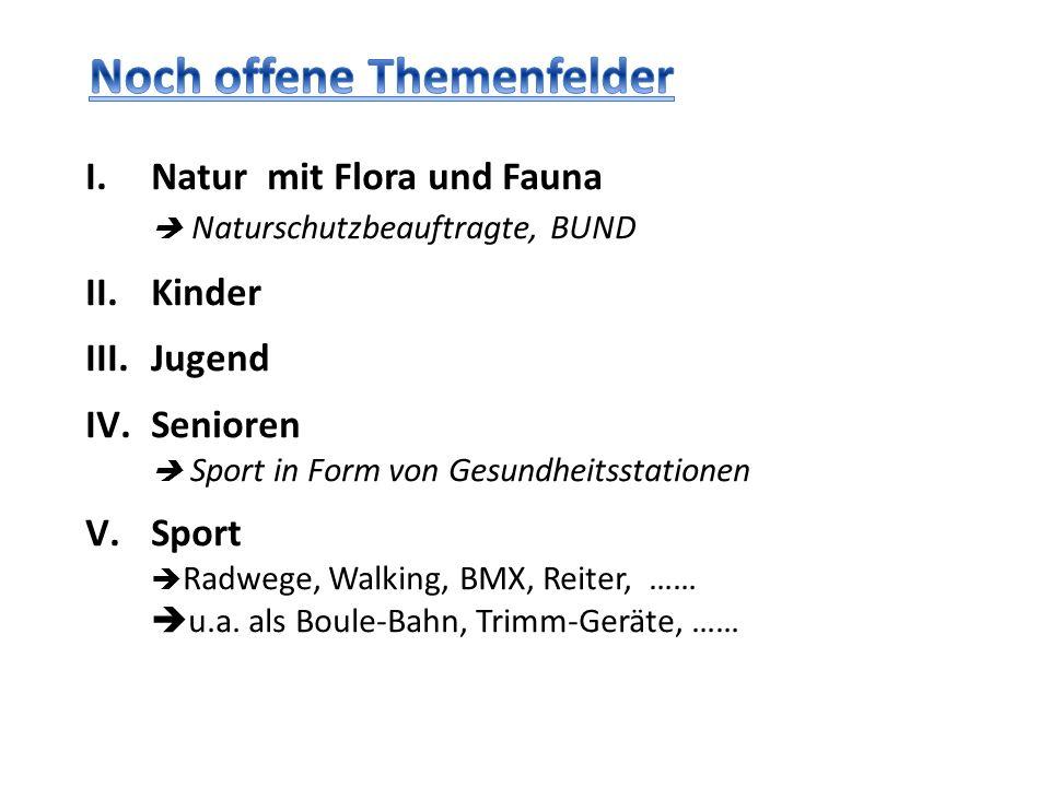 I.Natur mit Flora und Fauna Naturschutzbeauftragte, BUND II.Kinder III.Jugend IV.Senioren Sport in Form von Gesundheitsstationen V.Sport Radwege, Walk