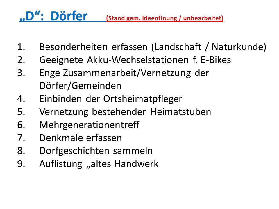 1.Besonderheiten erfassen (Landschaft / Naturkunde) 2.Geeignete Akku-Wechselstationen f. E-Bikes 3.Enge Zusammenarbeit/Vernetzung der Dörfer/Gemeinden