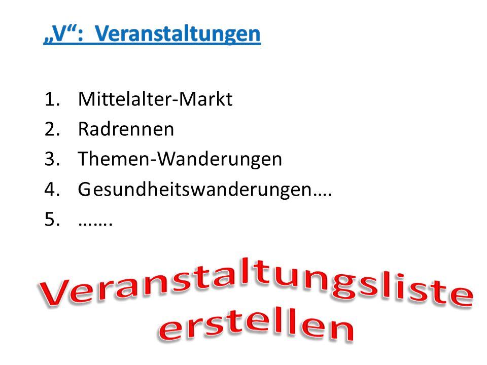 1.Mittelalter-Markt 2.Radrennen 3.Themen-Wanderungen 4.Gesundheitswanderungen…. 5.…….