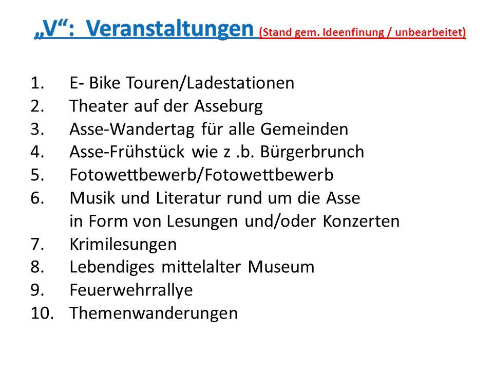 1.E- Bike Touren/Ladestationen 2.Theater auf der Asseburg 3.Asse-Wandertag für alle Gemeinden 4.Asse-Frühstück wie z.b. Bürgerbrunch 5.Fotowettbewerb/