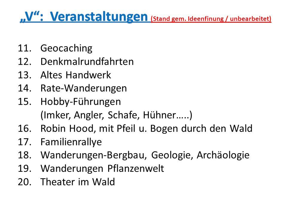11.Geocaching 12.Denkmalrundfahrten 13.Altes Handwerk 14.Rate-Wanderungen 15.Hobby-Führungen (Imker, Angler, Schafe, Hühner…..) 16.Robin Hood, mit Pfe