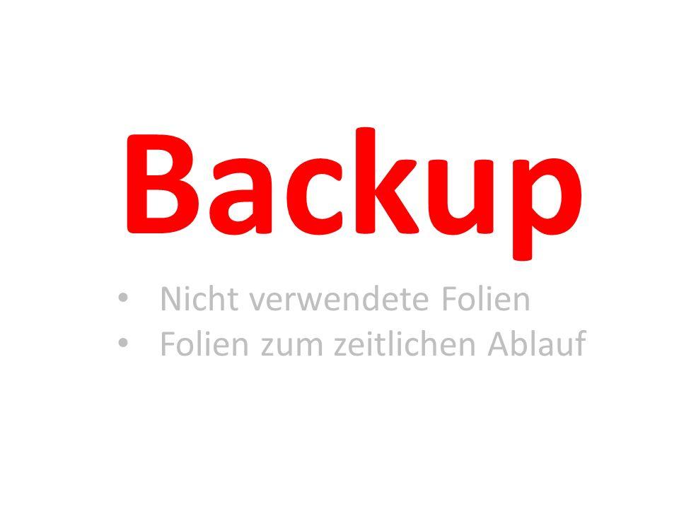 Backup Nicht verwendete Folien Folien zum zeitlichen Ablauf
